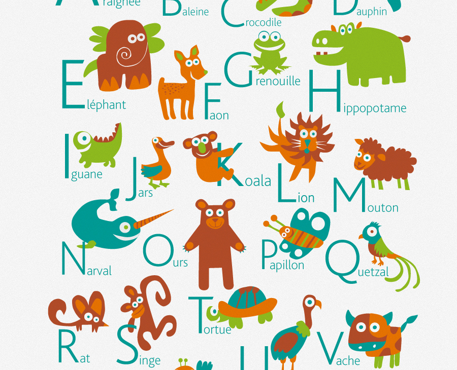 Personalized French Alphabet Poster | PUKACA