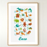 Personalized Italian Alphabet Poster with animals from A to Z