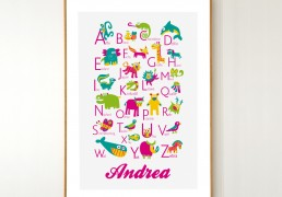 Personalized German Animals Alphabet Poster