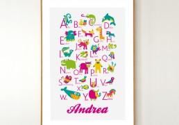 Personalized German Animals Alphabet Poster