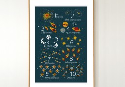 PORTUGUESE Space Numbers Poster