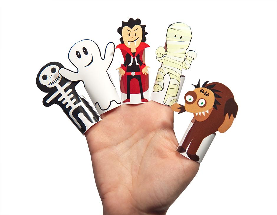 Halloween Monsters Paper Finger Puppets PRINTABLE PDF | PUKACA