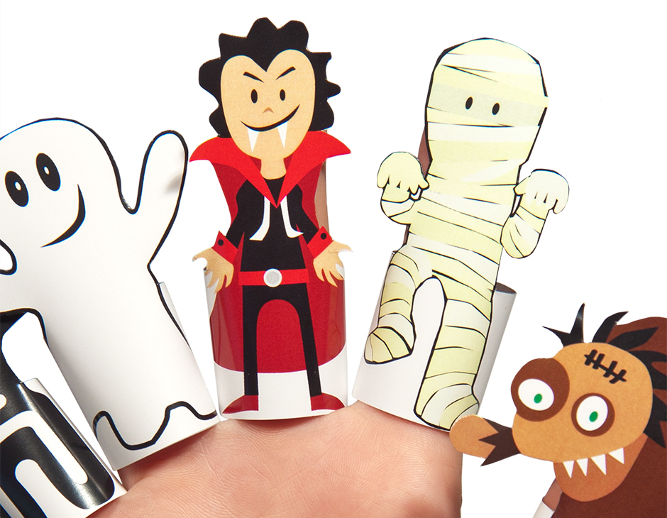 Halloween Monsters Paper Finger Puppets PRINTABLE PDF | PUKACA